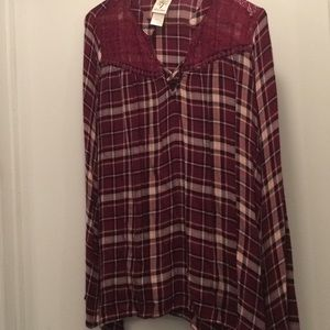 Long sleeve plaid shirt with lace neck